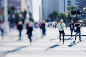 Workers walking to work